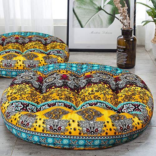 HIGOGOGO Round Bohemian Floor Cushion, Cotton Linen Boho Design Seat Cushion for Adults Kids, Thick Meditation Pillow for Yoga Living Room Sofa Balcony Outdoor, Yellow, 22x22 Inch, 1 Pack - PHUNUZ