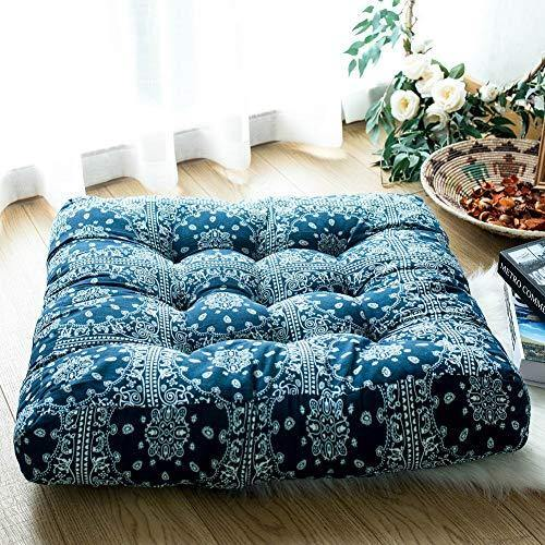 FAMIFIRST Square Solid Cotton Linen Floor Cushion Tufted Meditation Yoga Tatami Seating Cushion for Living Room Bedroom Balcony Office Outdoor, 23x23 Inch, Blue Futon - PHUNUZ