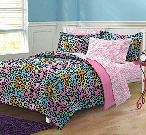 My Room Neon Leopard Ultra Soft Microfiber Girls Comforter Set, Multi-Colored, Twin/Twin X-Large - PHUNUZ