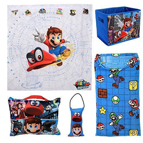 Your Little Gamer Will Be Jumping with Joy with Trendy and Adorable Mario 5Pc Kids Bedroom Set w/Pillows,Blanket, Storage and Wall Tapestry,Excellent Gift Idea for Kids and Fans - PHUNUZ