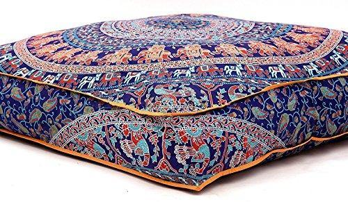 Krati Exports Indian Floor Pillow Cushion Covers in Mandala Design (Blue Multi) - PHUNUZ