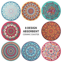 Load image into Gallery viewer, CHEFBEE Set of 8 Coaster for Drinks Absorbent Mandala Ceramic Coasters with Cork Base, Metal Holder, Stone Coasters Set for Wooden Table, Great Home and Dining Room Decor, Housewarming Gift