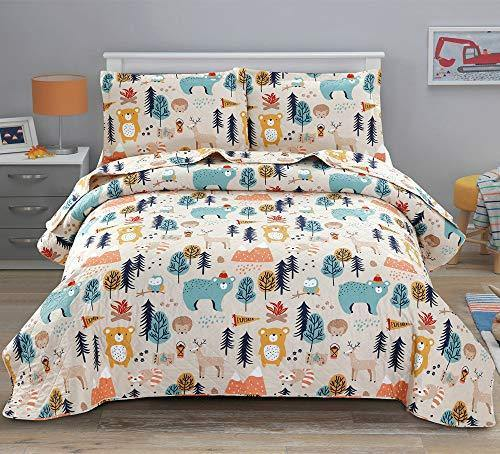 Kids Quilt Twin Size Boys Cute Bedspread Coverlet Animal Bear Bedding Children Printed Quilt Animal Forest Cartoon Bedspread Reversible Lightweight Kids Quilts+2 Pillow Shams for All Season - PHUNUZ
