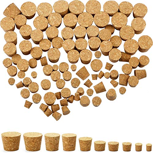 100 Pack Tapered Cork Plugs Wooden Wine Bottle Cork Stoppers Replacement Corks for Wine Beer Bottle, 10 Sizes