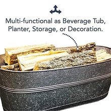 Load image into Gallery viewer, BREKX Massive 80-Quart Hammered Galvanized Firewood Container, Beverage Tub, and Garden Planter Tub