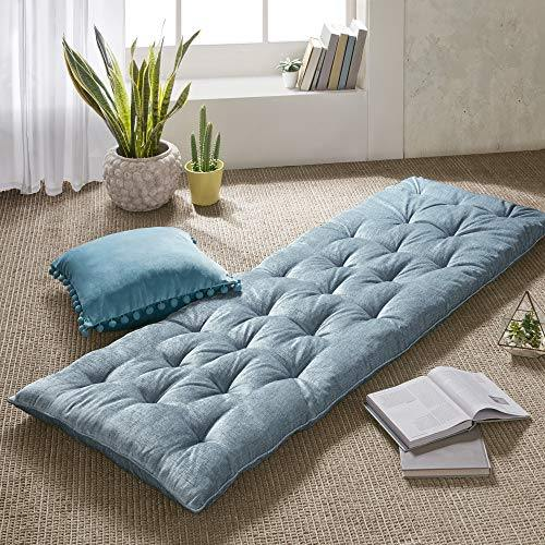 Intelligent Design Edelia Foldable Poly Chenille Lounge Floor Pillow Cushion Tufted Seat for Meditation, Game Playing, Yoga, Reading with Travel Wrap, 74x27, Aqua - PHUNUZ