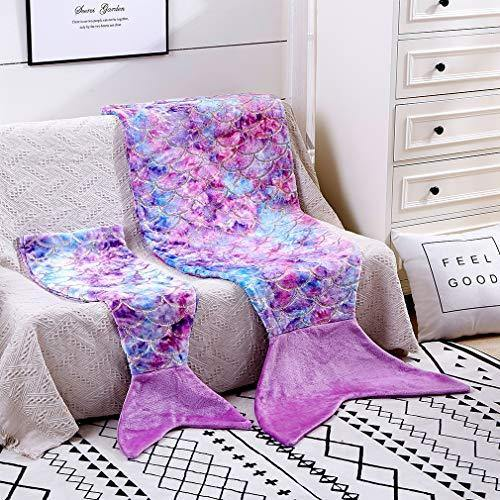 Toddler Mermaid Tail Blankets Glittering Cozy Soft Flannel Rainbow Colorful Gifts All Season for Toddlers /Kids(Purple Pink, Toddlers) - PHUNUZ
