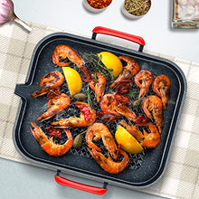 Load image into Gallery viewer, IAXSEE Korean Grill Pans Induction Grill Stovetop Compatible, 12 inch Stove Top Cast Iron Grill Pan with Double Loop Handles and Grease Draining System