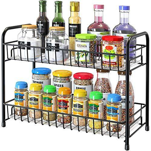 Spice Rack Organizer for Countertop, 2-Tier Metal Spice Organizer Standing Rack Shelf Storage Holder with Shelf Liner for Kitchen Cabinet Pantry Bathroom Office, Black - PHUNUZ
