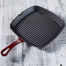 Load image into Gallery viewer, Cuisinart CI30-23CR Chef's Classic Enameled Cast Iron 9-1/4-Inch Square Grill Pan, Cardinal Red