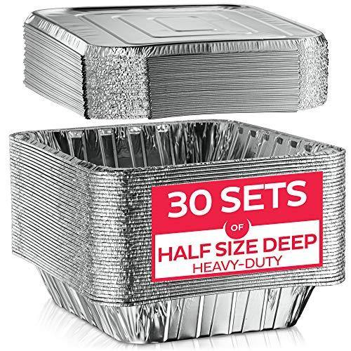 Aluminum Foil Pan with Lids-9x13 Half-Size Deep [30 Sets] Heavy-Duty Steam Table Pans, Disposable Tin-Foil Container, Ideal for Cooking, Roasting, Baking, Heating, and Food Prep - PHUNUZ