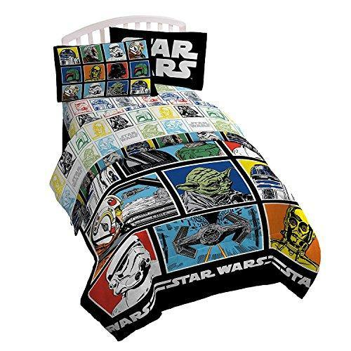 Star Wars Classic Grid Full Comforter - Super Soft Kids Reversible Bedding features Darth Vader, Stormtrooper, and Chewbacca - Fade Resistant Polyester Microfiber Fill (Official Star Wars Product) - PHUNUZ