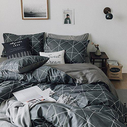 HIGHBUY Premium Cotton Full Bedding Sets Grey Duvet Cover Set Queen(1 Duvet Cover + 2 Pillowcases ) for Boys Men Geometric Plaid Duvet Cover Full 3 Pieces Full Queen Bedding Collection,Lightweight - PHUNUZ