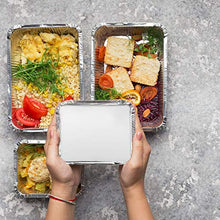 Load image into Gallery viewer, Aluminum Pans Take Out Containers (50 Pack) 50 Foil Oblong Pans and 50 Cardboard Lids - 1 Lb Tin Pans - Disposable Food Storage Containers for Cooking, Baking and Meal Prep