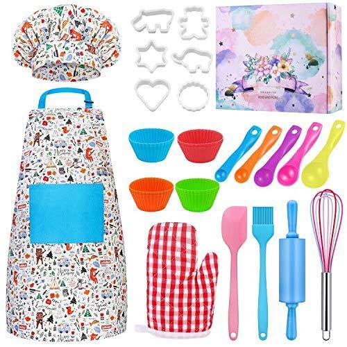 Kids Baking Set Hompo Real Baking Tools for Girl Boy Gifts Set,30 Pcs Kid Cooking Set Includes Kids Apron, Chef Hat, Oven Mitt and Baking Tools - PHUNUZ