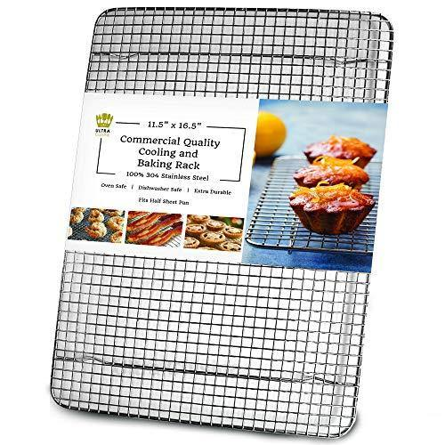 Ultra Cuisine 100% Stainless Steel Wire Cooling Rack for Baking fits Half Sheet Pans Cool Cookies, Cakes, Breads - Oven Safe for Cooking, Roasting, Grilling - Heavy Duty Commercial Quality - PHUNUZ