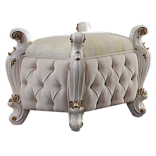 Picardy Fabric & Antique Pearl Vanity Stool image