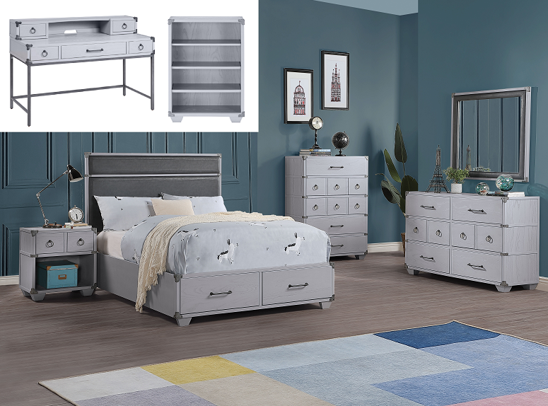 Orchest Gray PU & Gray Twin Bed (Storage) image