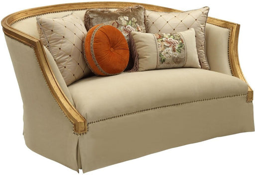 Acme Furniture Daesha Loveseat in Tan Flannel & Antique Gold 50836 image