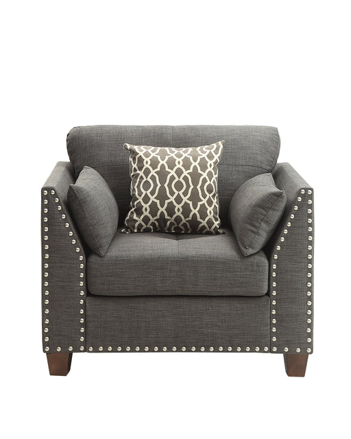 Laurissa Light Charcoal Linen Chair & 3 Pillows image