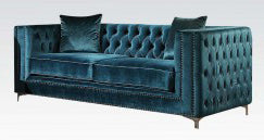 Acme Gillian Loveseat in Dark Teal Velvet 52791 image