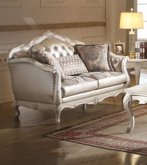 Acme Chantelle Loveseat w/3 Pillows in Pearl White 53541 image