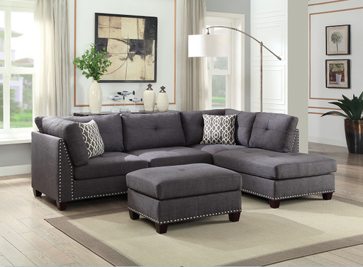 Laurissa Light Charcoal Linen Sectional Sofa & Ottoman (2 Pillows) image