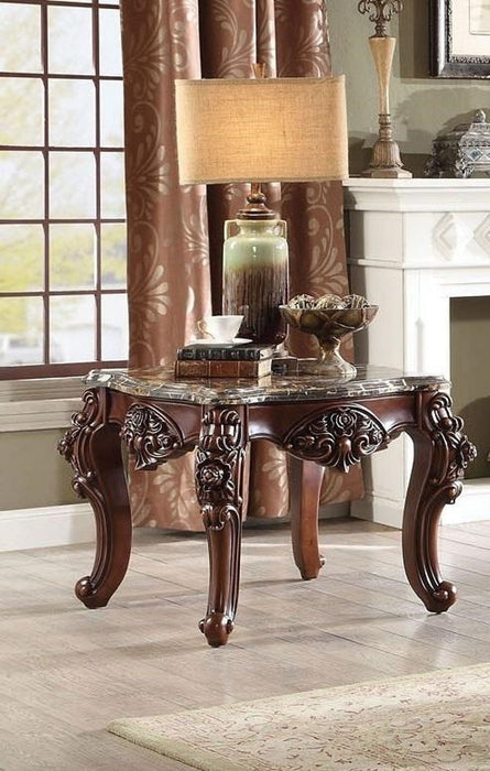 Acme Furniture Forsythia End Table in Marble/Walnut 83072 image