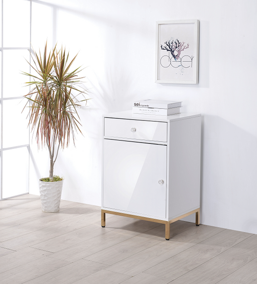 Ottey White High Gloss & Gold Cabinet image