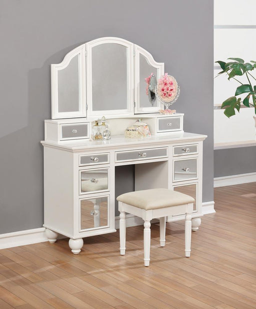 Transitional Beige and White Vanity Set image