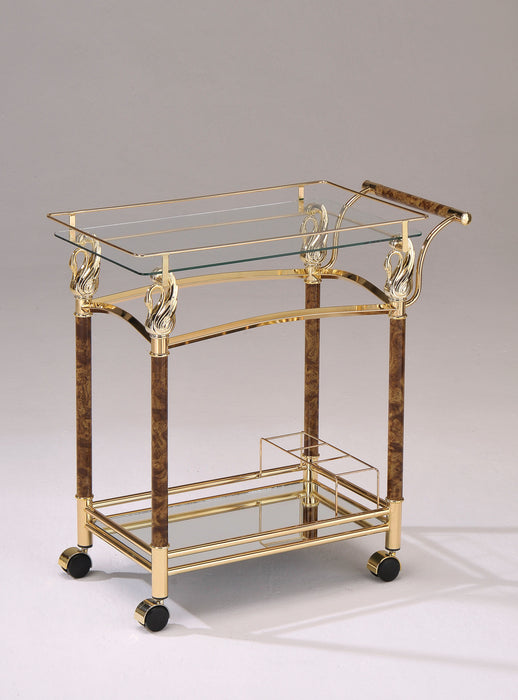 Helmut Gold Plated & Clear Glass - Tempered Serving Cart image