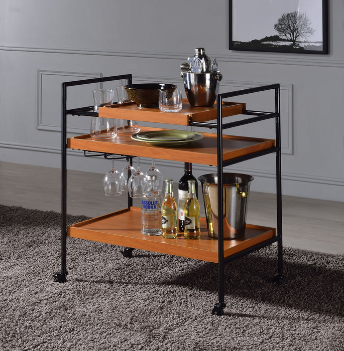 Oaken Honey Oak & Black Serving Cart image