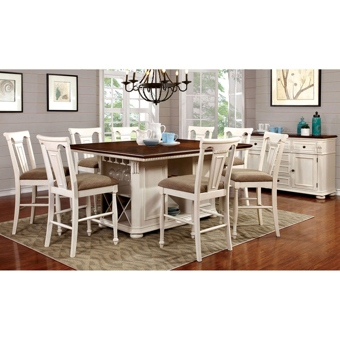 SABRINA Off White/Cherry 7 Pc. Counter Ht. Dining Table Set w/ Stools image