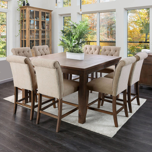 Sania III Rustic Oak 6 Pc. Counter Ht. Dining Table Set w/ Bench image