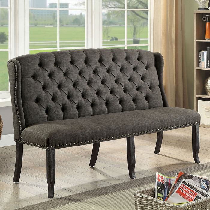 Sania III Gray 3-Seater Love Seat Bench image