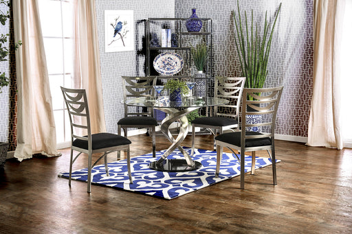 ROXO Silver/Black Round Dining Table image
