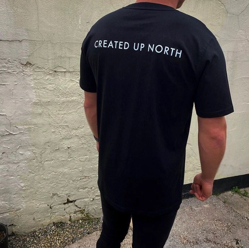 Created up North black T-shirt