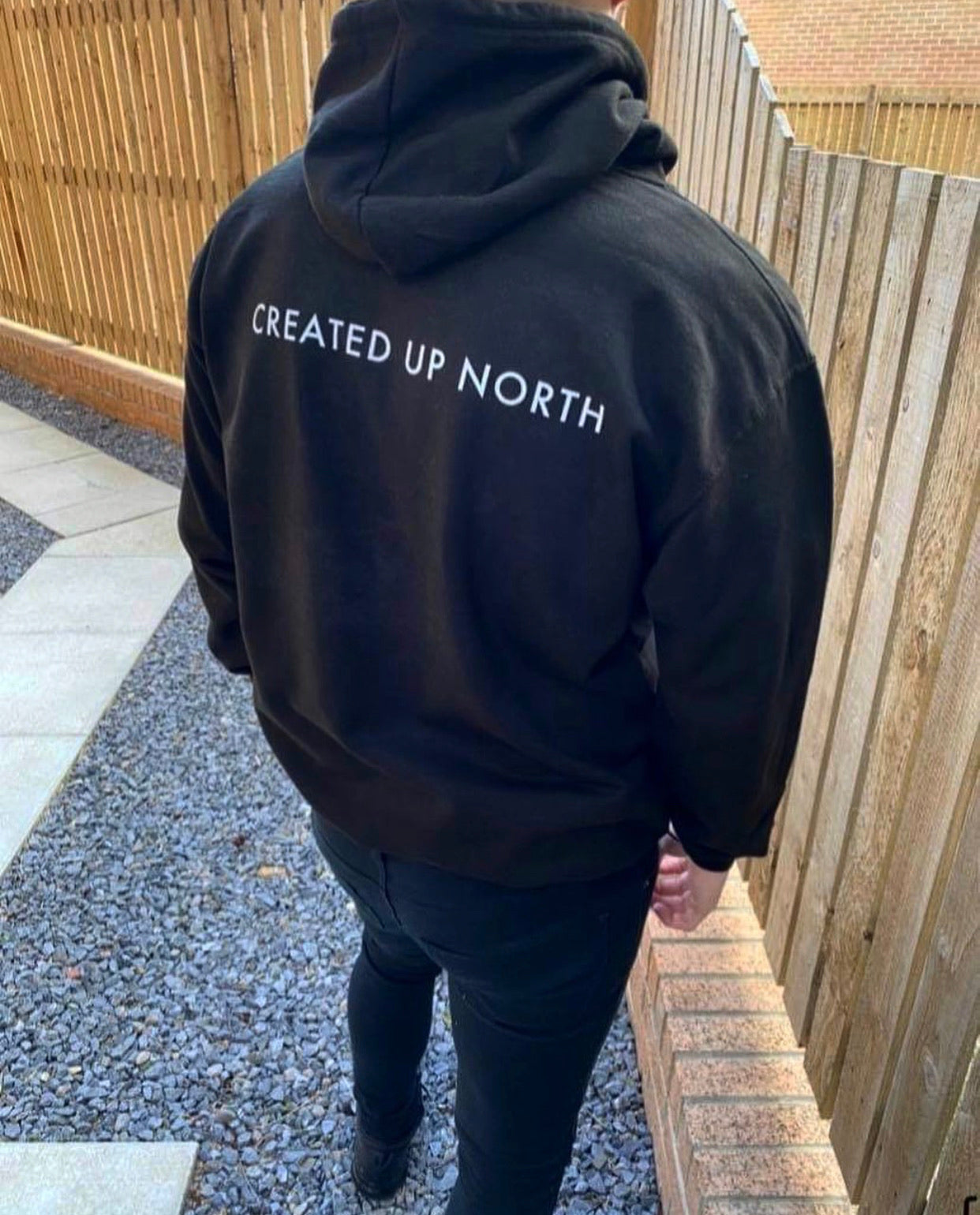 Created up North black hoodie