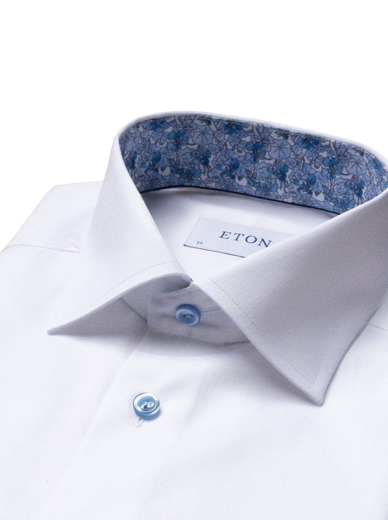 Eton - Signature Twill Shirt w/ Navy Blue Buttons Floral Trim - White