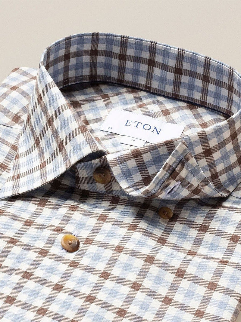 Eton - Checks Flanell Shirt - Brown & Blue On White