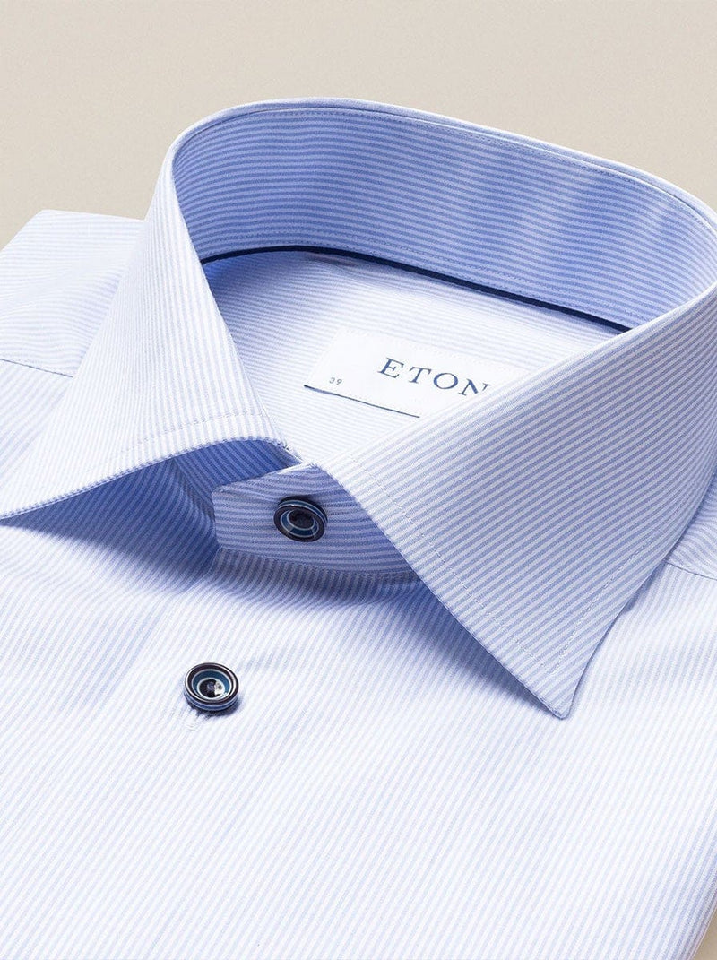 Eton - Striped Shirt With Contrast Buttons - Sky