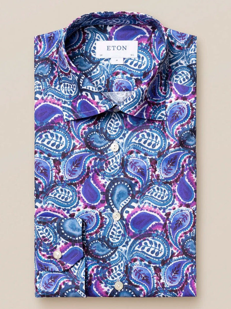 Eton - Water Colour Paisley Print Shirt - Blue/Purple