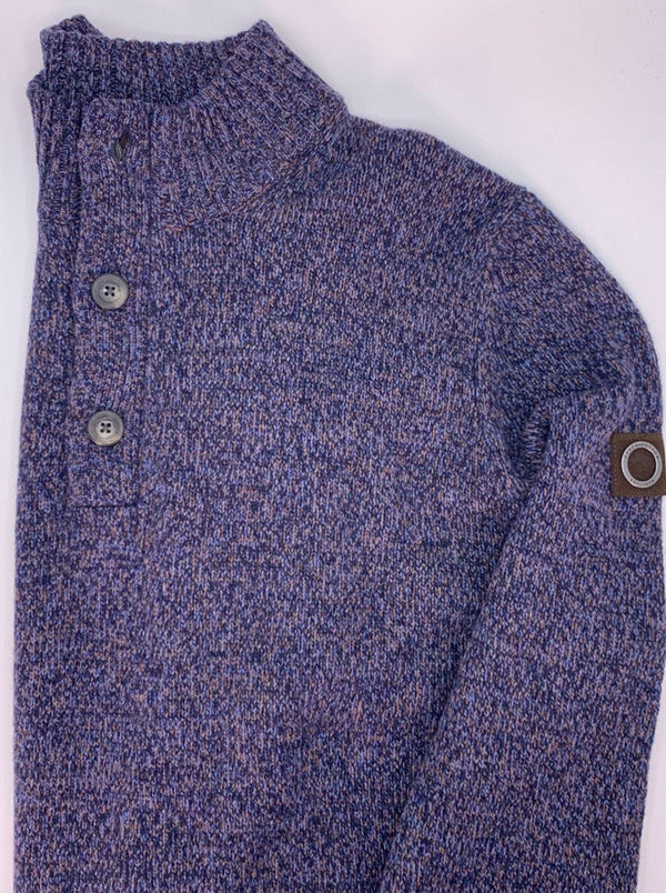 Fynch Hatton - 1/4 Button Fishermans Knit Mock Neck Sweater - Colour Night Shade