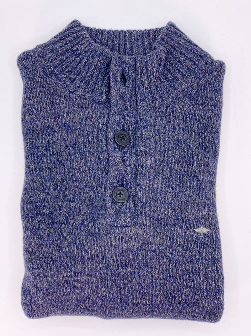 Fynch Hatton - 1/4 Button Fishermans Knit Mock Neck Sweater - Colour Frozen