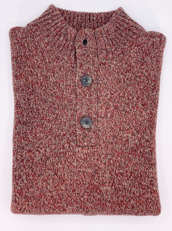 Fynch Hatton - 1/4 Button Fishermans Knit Mock Neck Sweater - Colour Tuscany