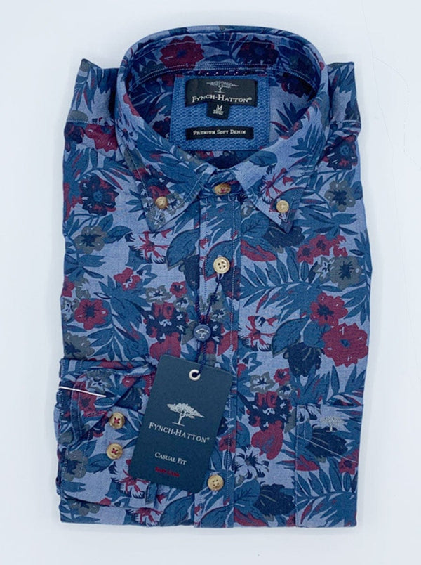 Fynch Hatton - Denim Floral Print Casual Shirt - Colour Blue