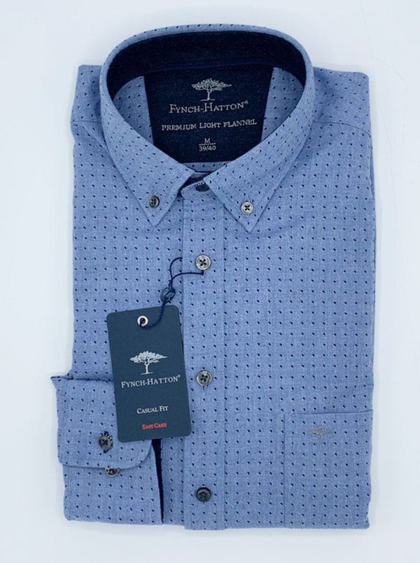 Fynch Hatton - Soft Flannel Font Square Print Casual Shirt - Colour Light Blue