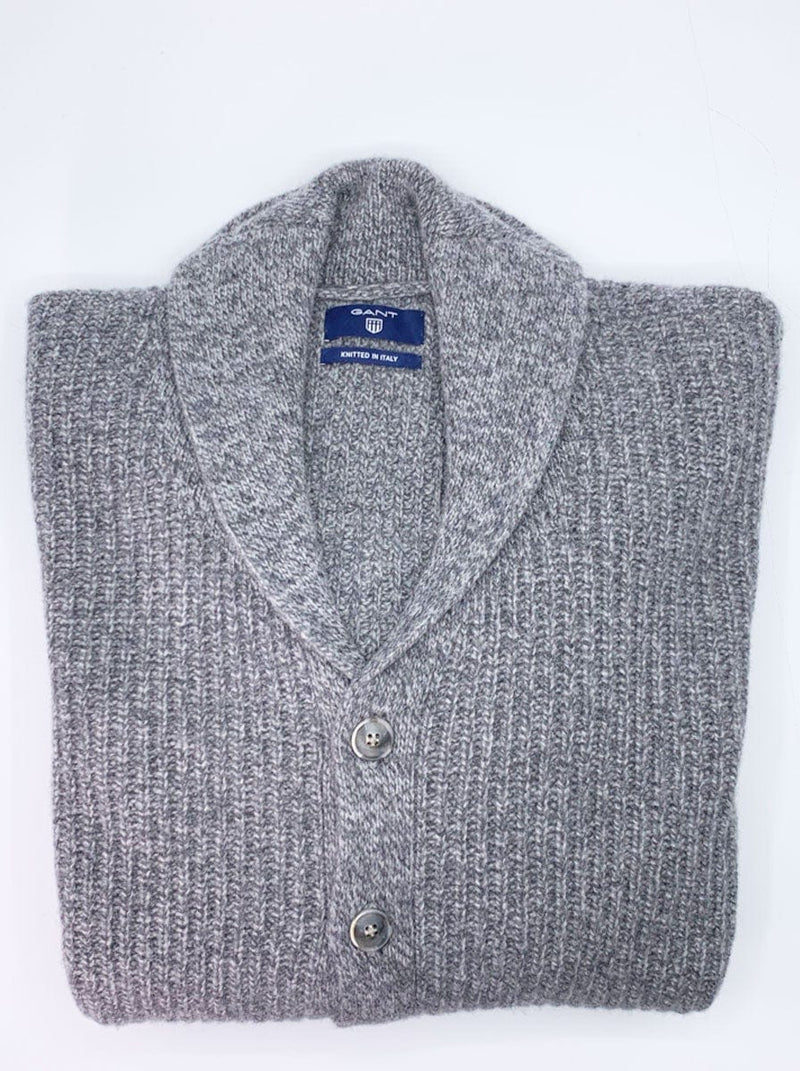 GANT Chunky Shawl Collar Cardigan - Colour Dark Grey Melange