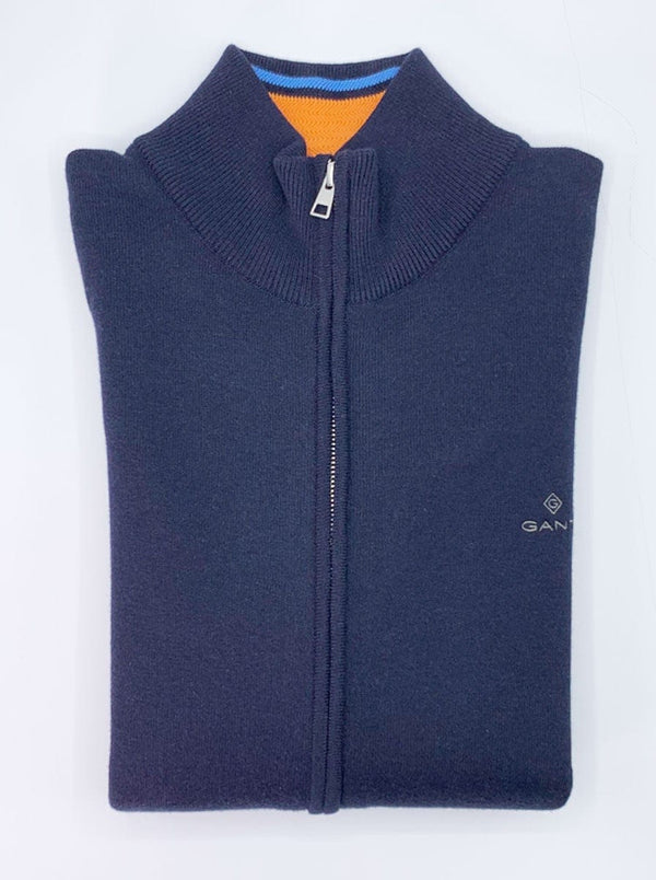 GANT Mock Neck Double Faced Full Zip Sweater - Colour Evening Blue