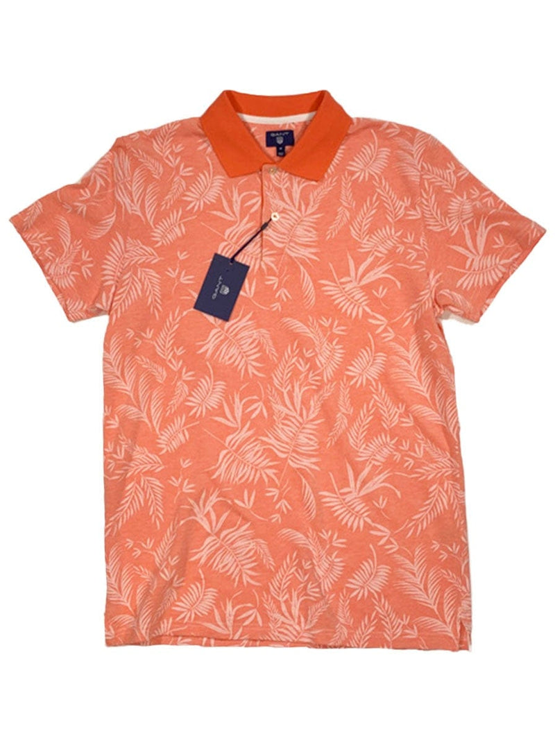 GANT - All Over Leaf Print Piqué Polo Shirt - Strong Coral